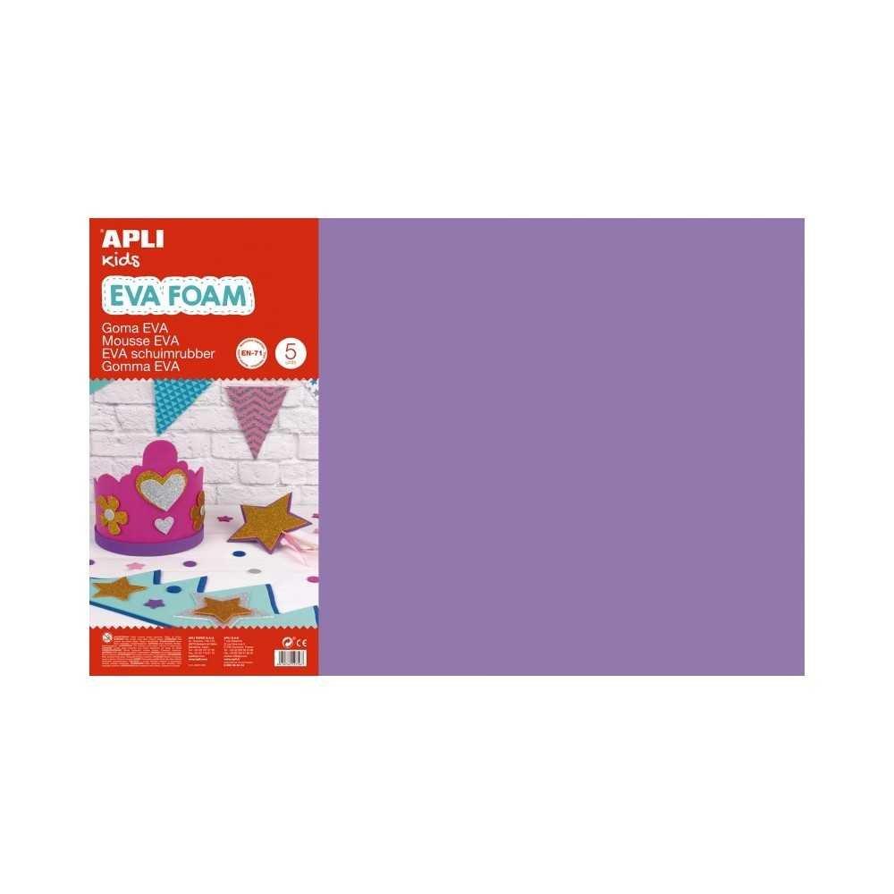 5 Hojas de Goma Eva Color Lila 60x40 cm Apli 12767 Compraetiquetas