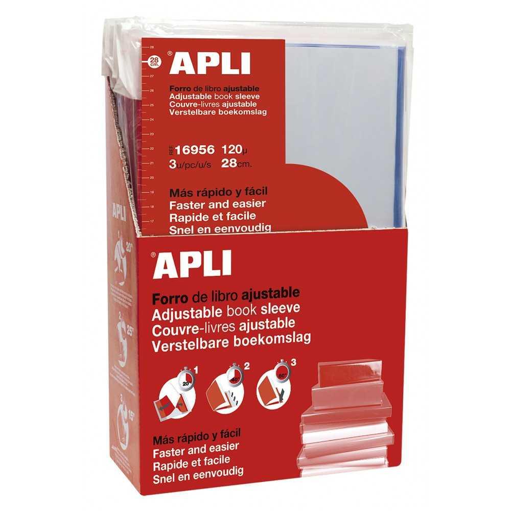 Forro Libro Solapa Autoajustable 280 mm 3 Uds Apli 16956