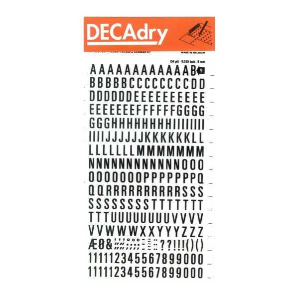 Números y Signos Transferibles Negros 6 mm Apli DD55F