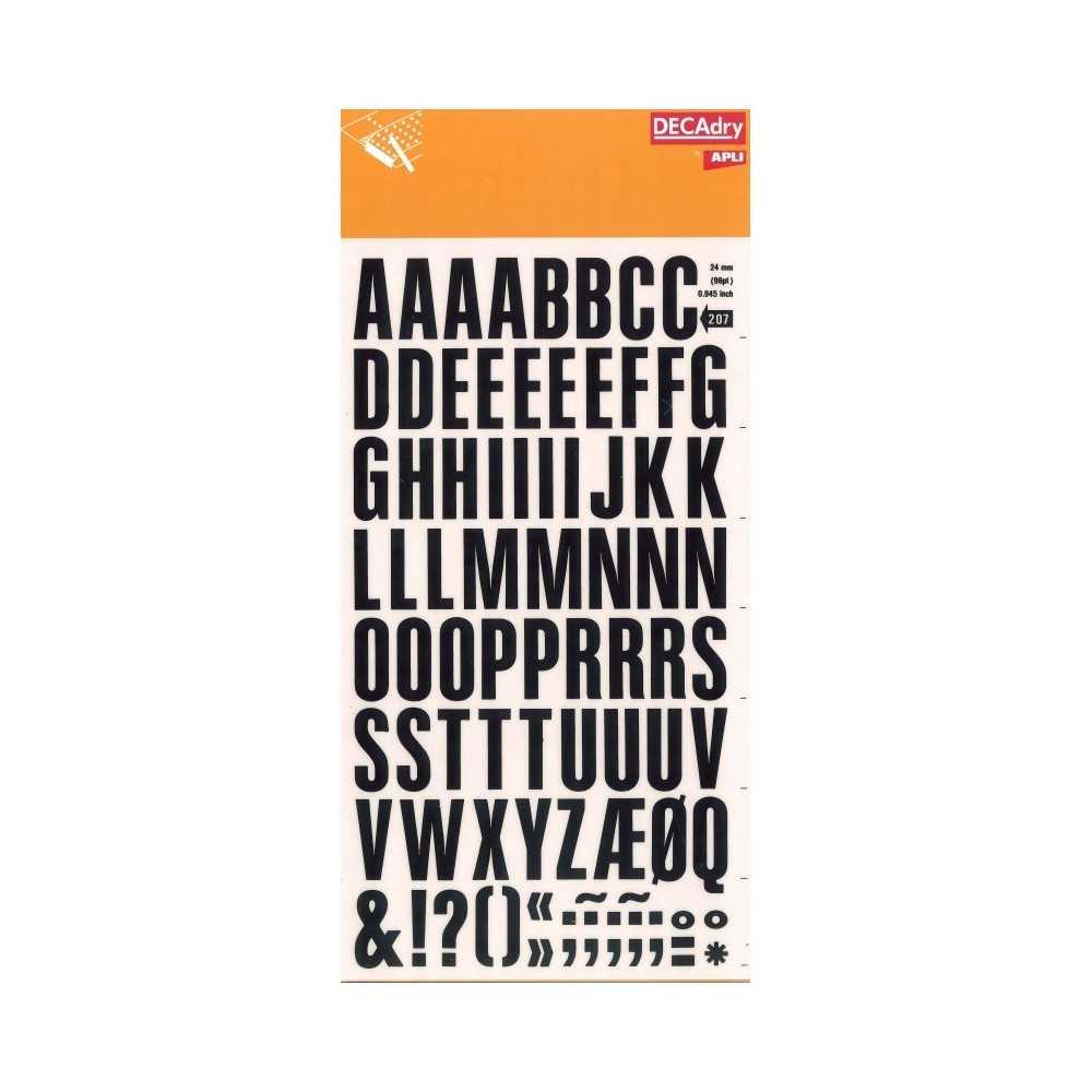 1 Hoja Super Letras y Números Transferibles Color Negro 24mm Decadry by Apli SDD207F