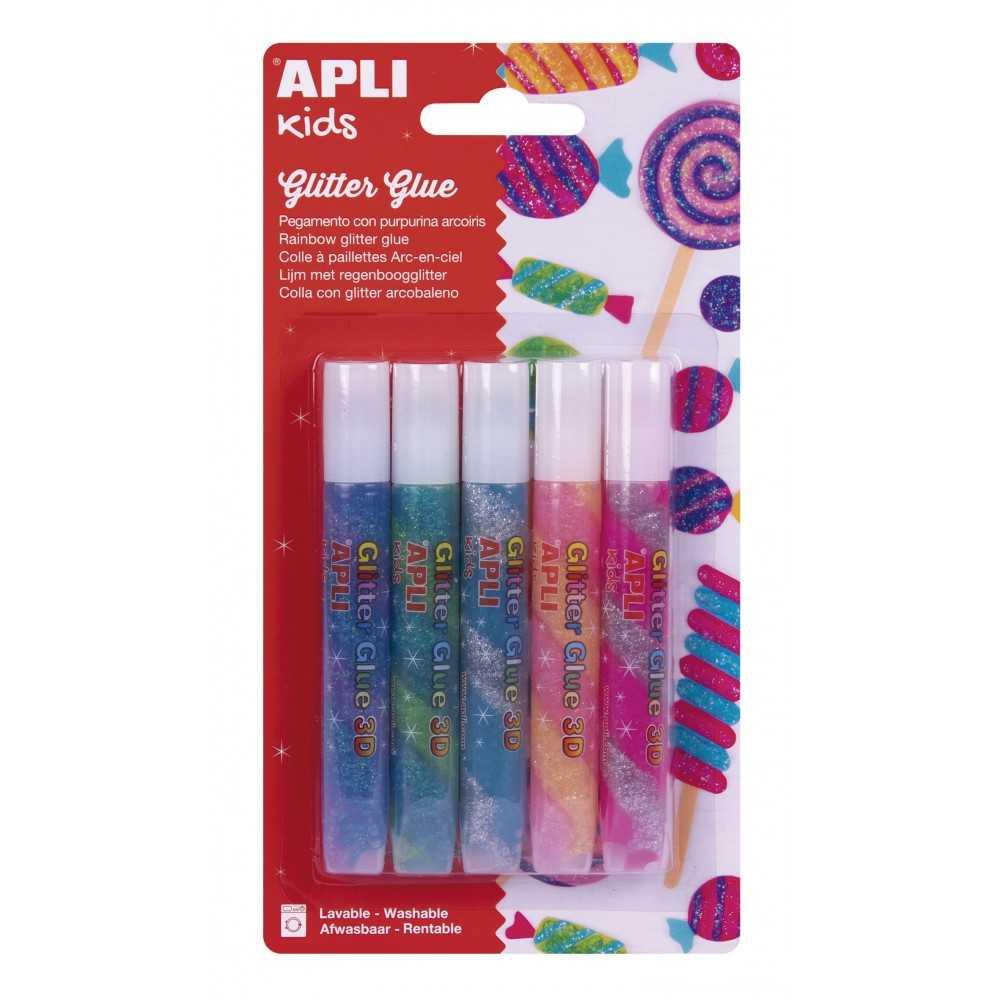 Pegamento Purpurina Colores Arcoíris 5 Uds Apli17611