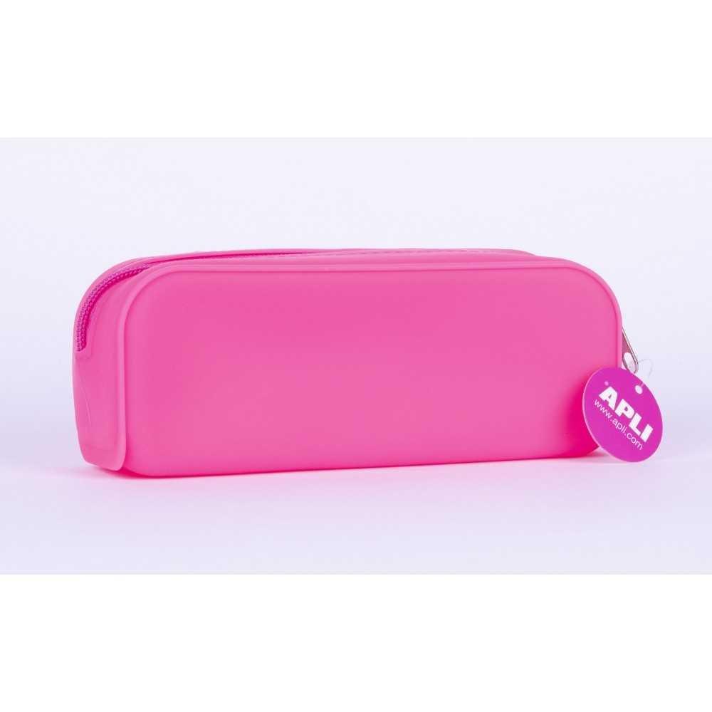 Estuches Portatodo de Silicona Color Rosa  Fluor Apli 16300