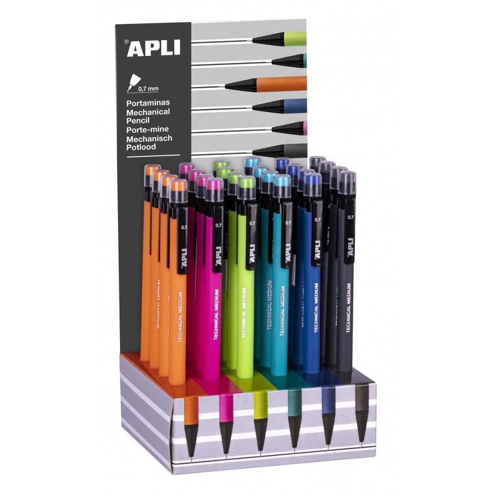 6 Portaminas de 0,7mm Colores Surtidos Apli 17878 Compraetiquetas