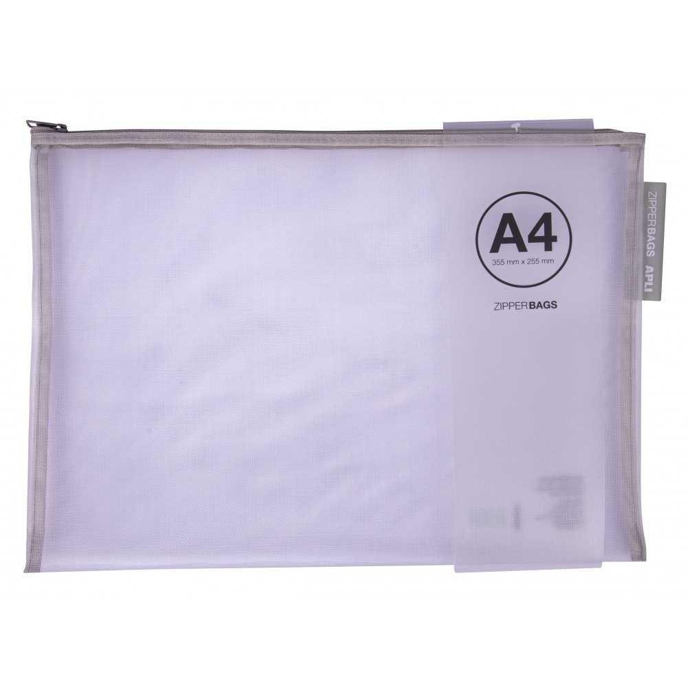Bolsa Zipper Bag de Nylon A4 355 x 255mm 5 Uds Apli 18027