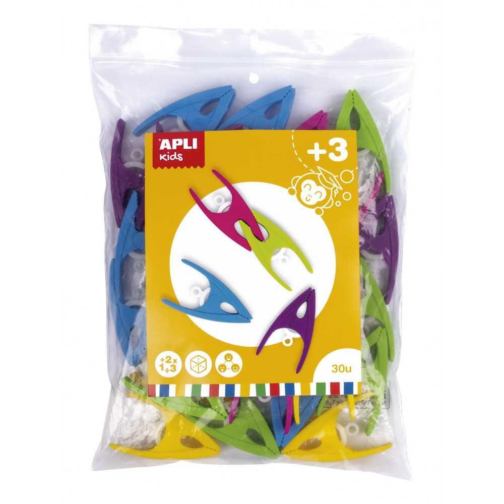 30 Pinzas de Plastico  de Colores Surtidos Apli 17491