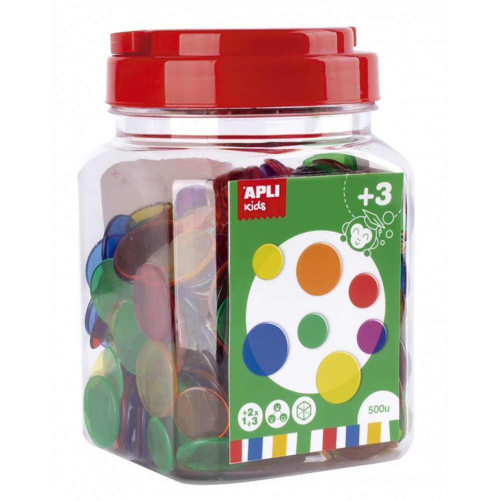 Piezas Redondas Plástico Transparentes Para Contar Apli 17495