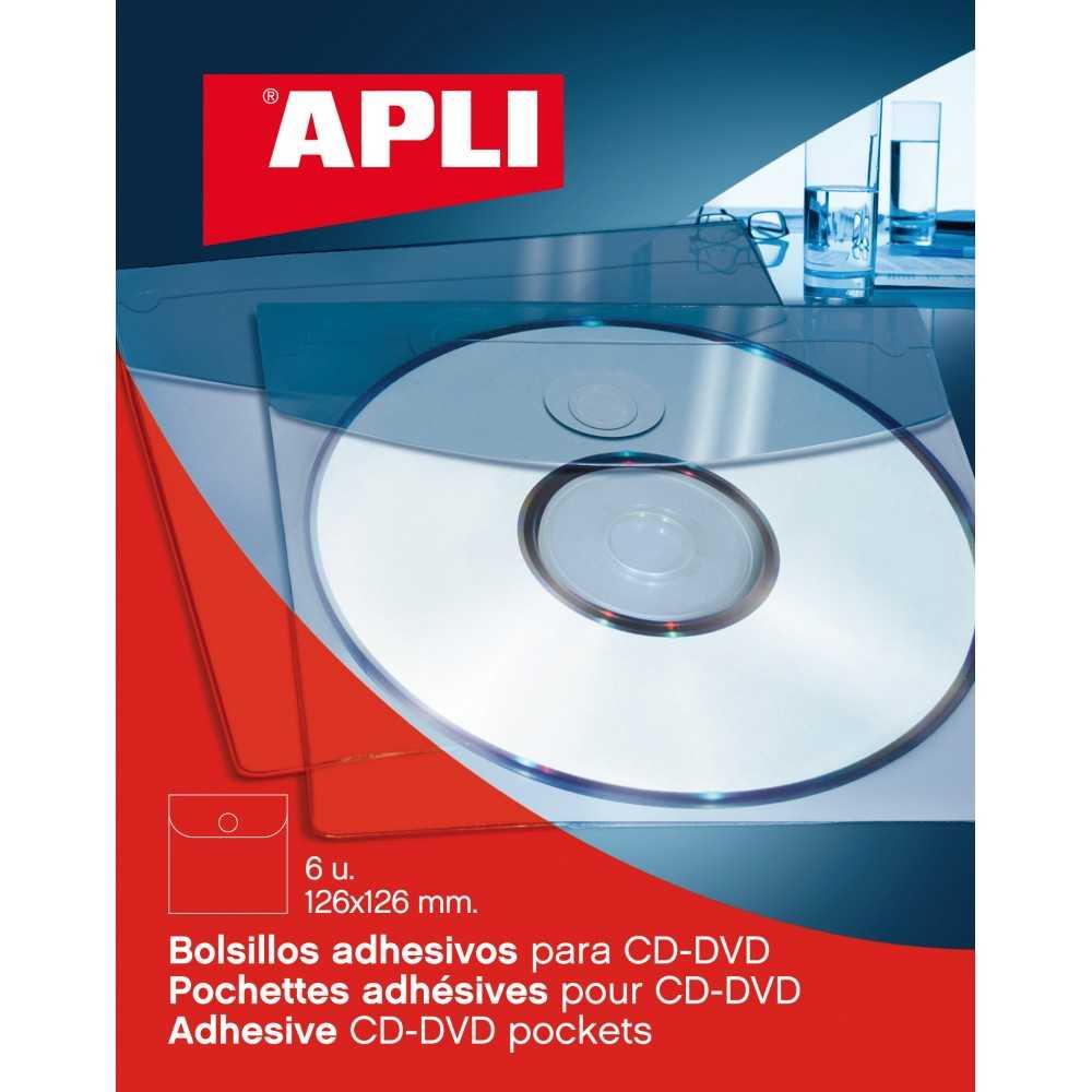 Bolsillos CD/DVD Con Solapa 126x126 mm Apli 02585