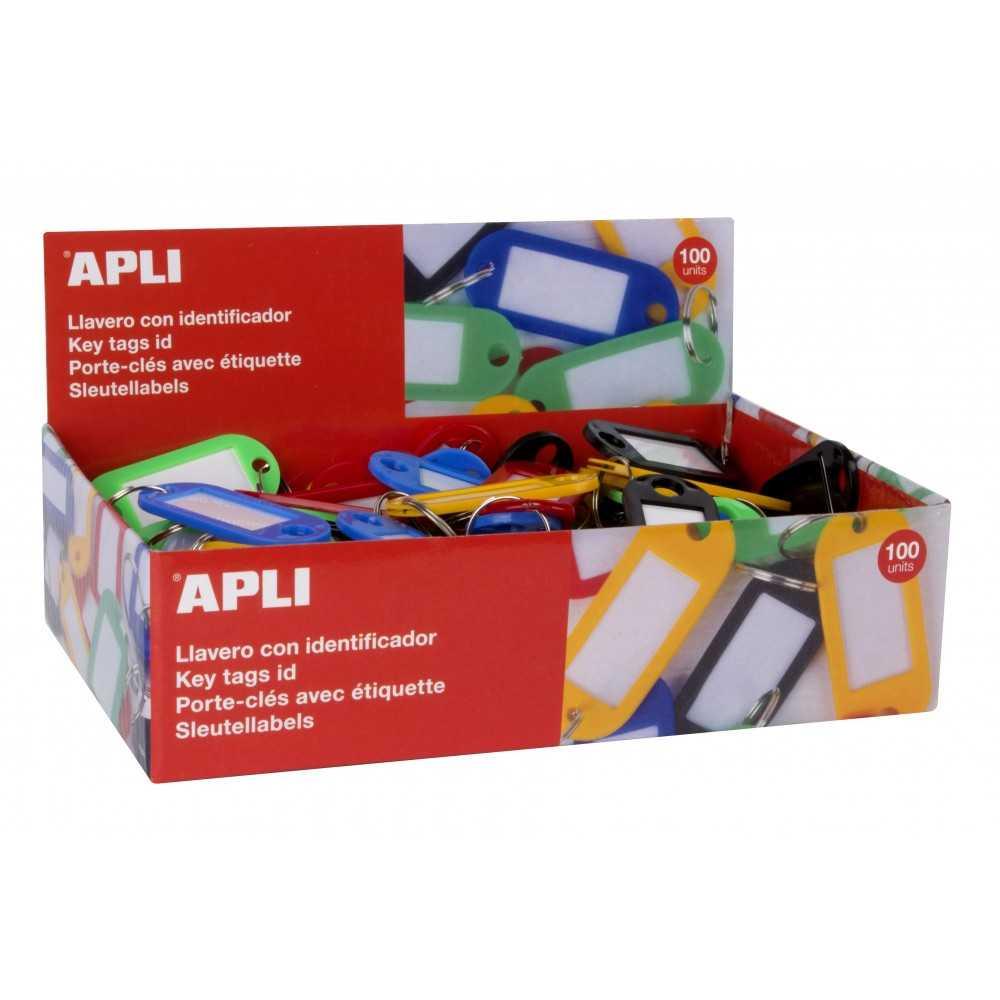 100 Llaveros Porta Eiquetas Plastico Opacaco Surtido Color Apli 17132 compraetiquetas.com