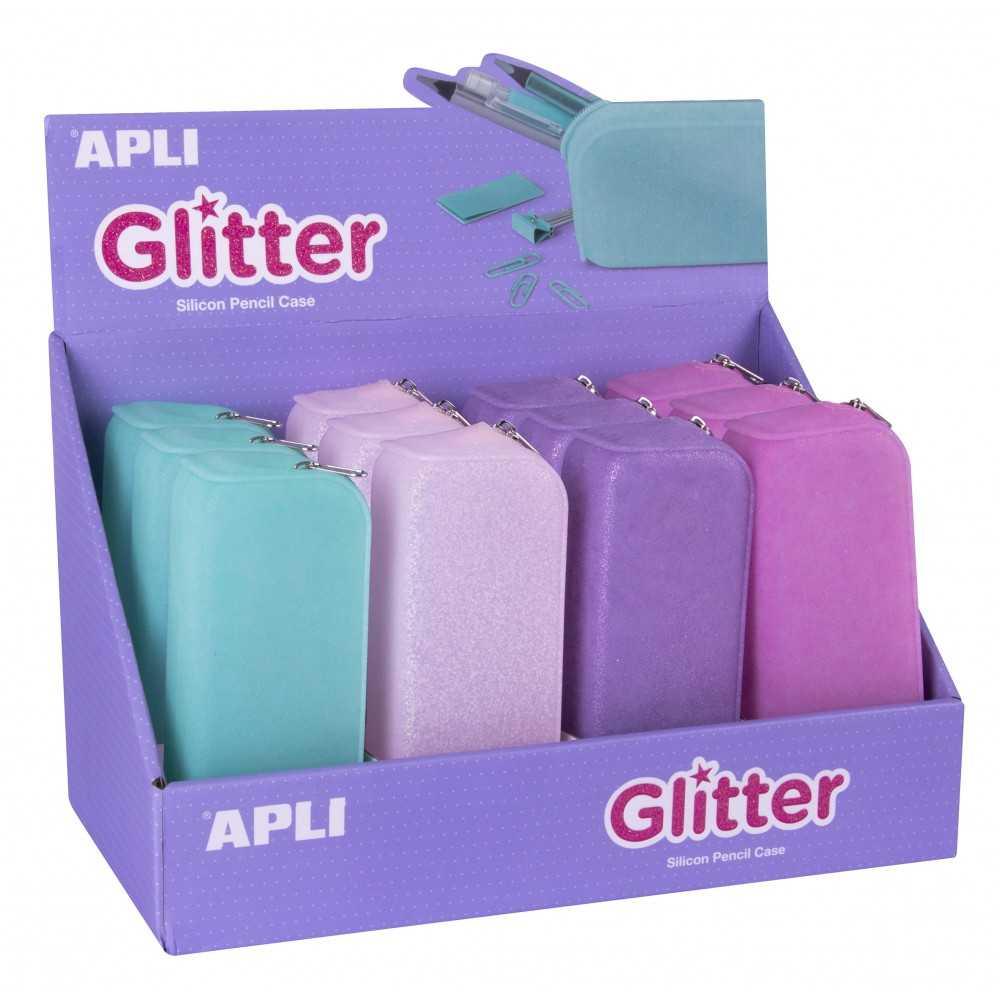 Expositor 12 Estuches de Silicona Colores Glitter Apli 18216 Compraetiquetas