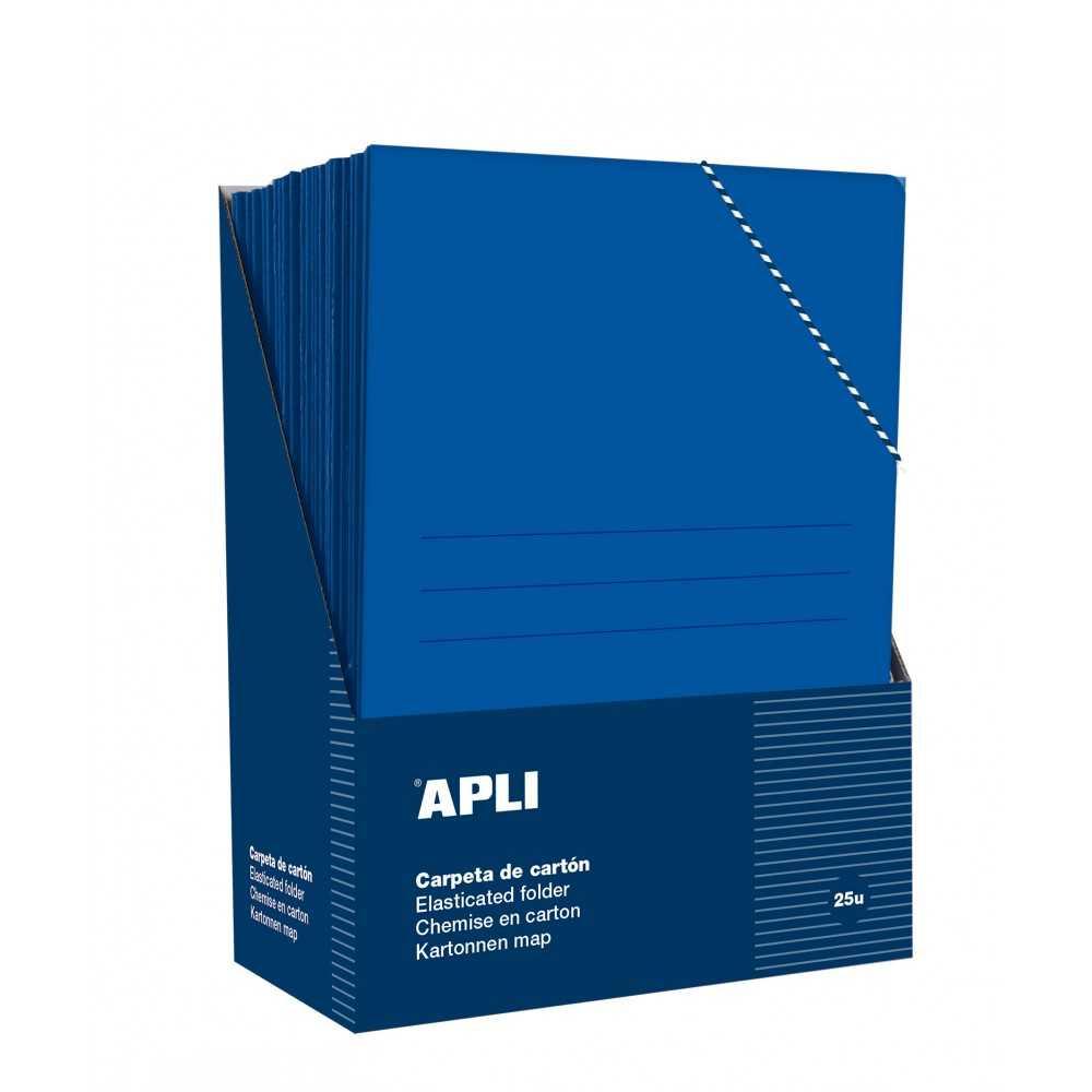 25 Carpetas con gomas y 3 solapas color azul Folio Apli 15447 compraetiquetas.com