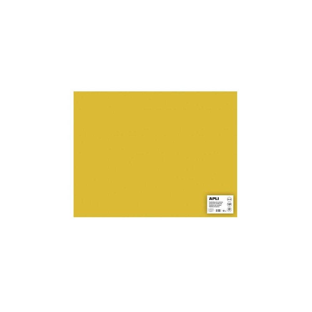 25 Hojas Cartulina 50x65 cm Color Amarillo Oro Apli 16506
