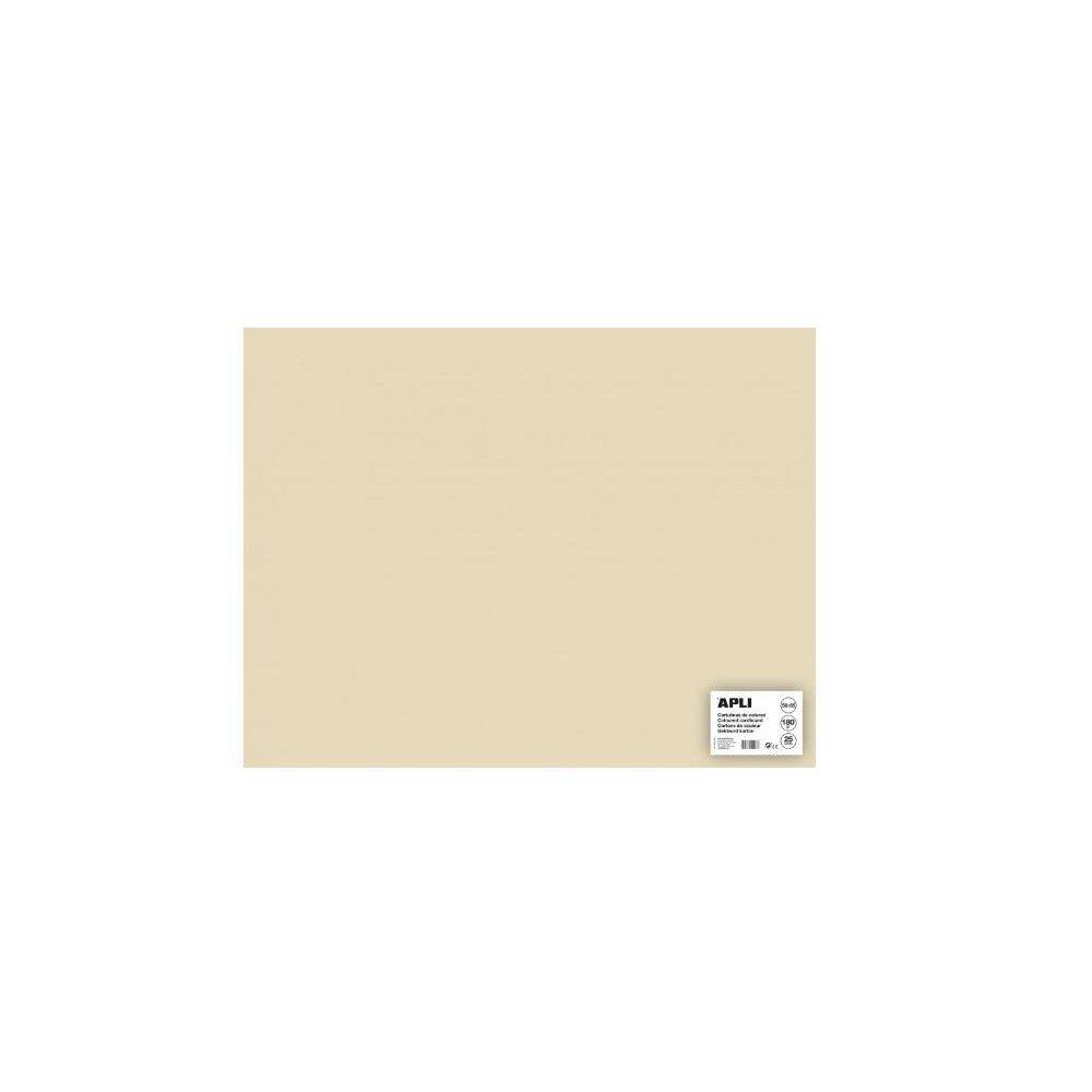 25 Hojas Cartulina 50x65cm Color Vainilla Apli 16503
