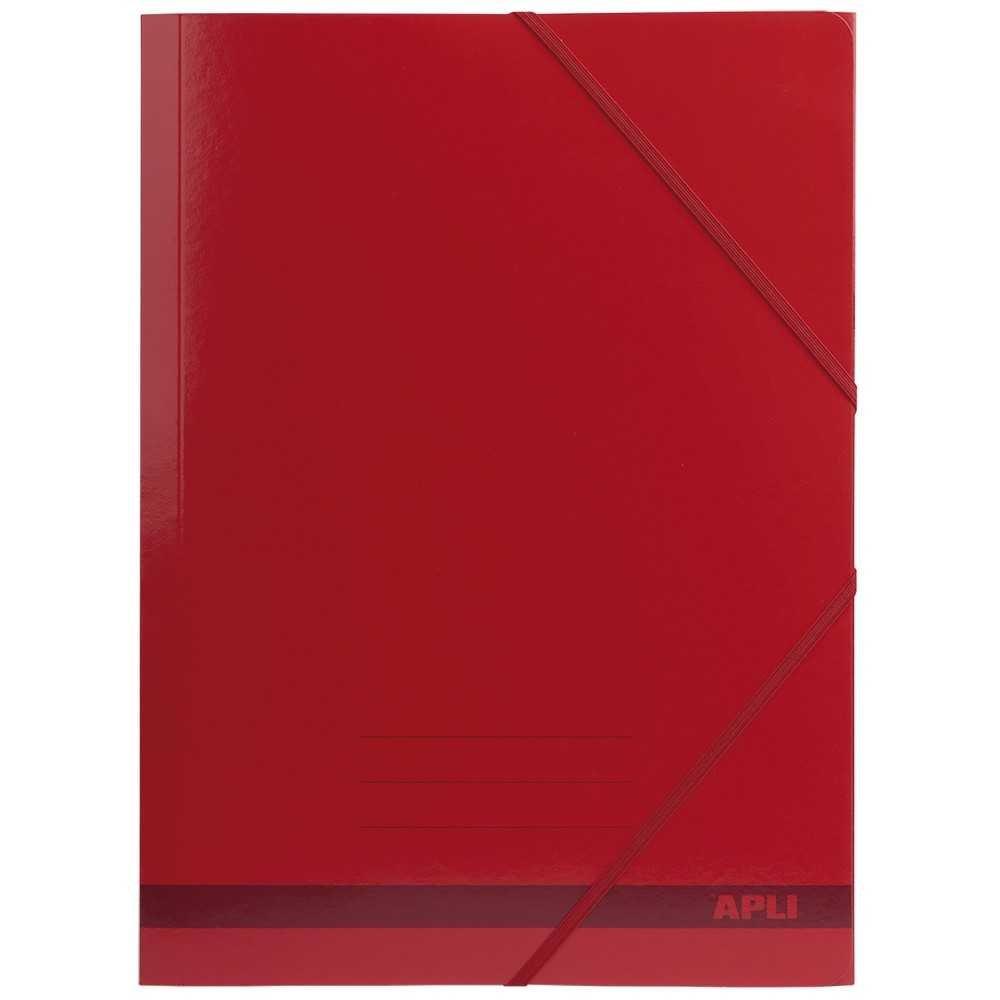 25 Carpetas con Gomas de 3 solapas Color Rojo A4 Apli 15443 compraetiquetas.com