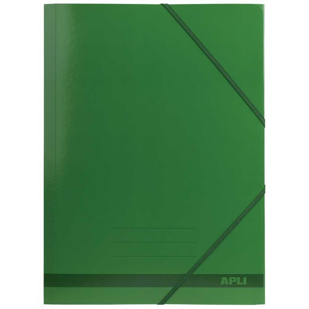 25 Carpetas con Gomas de 3 solapas Color Verde A4 Apli 15444 compraetiquetas.com