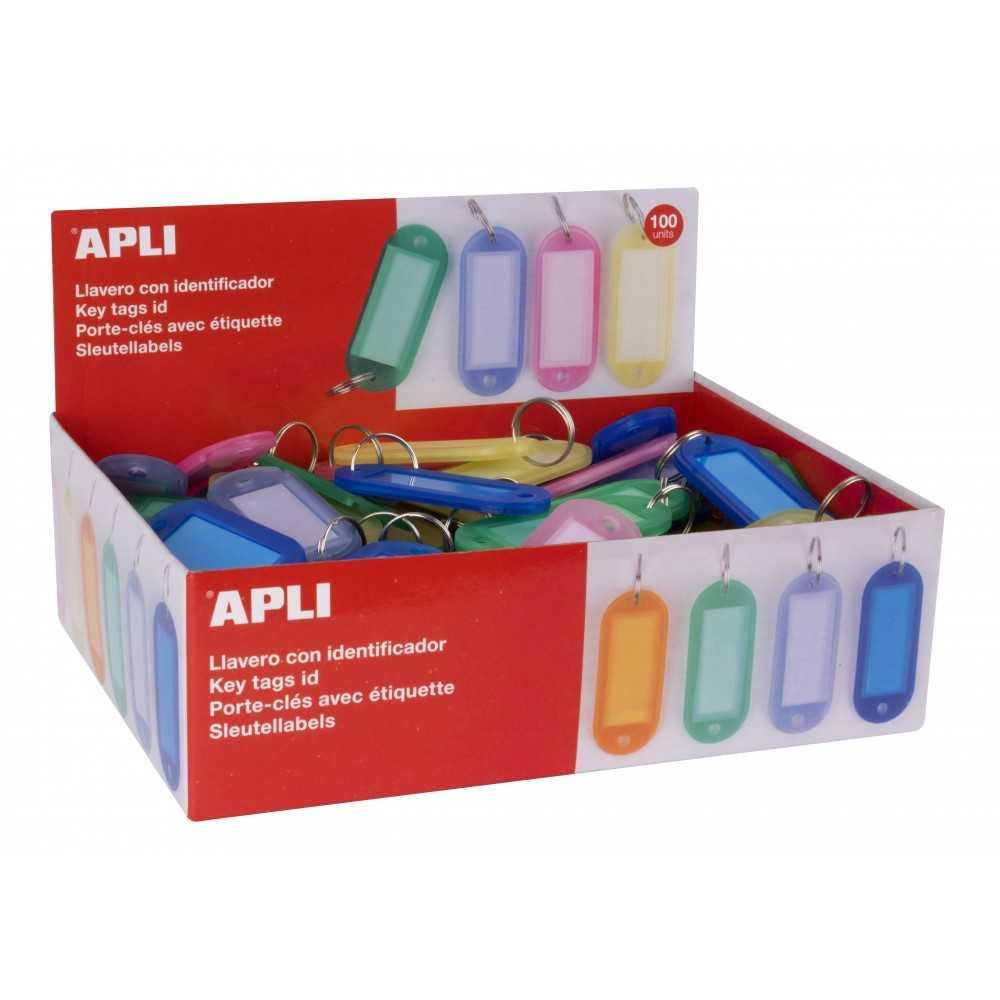 100 Llaveros Porta Eiquetas Plastico Traslucido Surtido Color Apli 17134 compraetiquetas.com