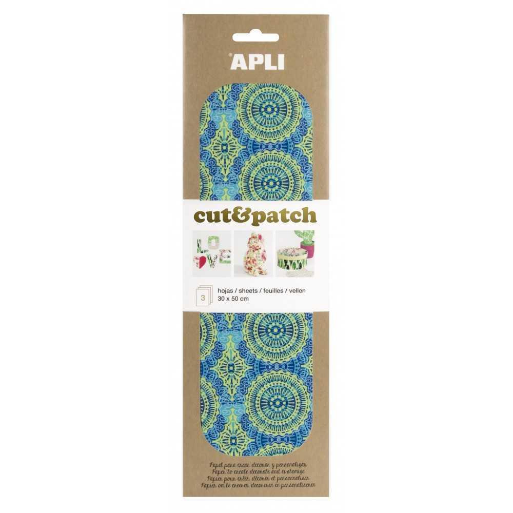 3 Hojas 30x50cm Papel Decopatch Verde Azul Apli 17233 COMPRAETIQUETAS