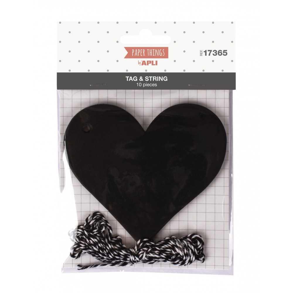Etiquetas Colgantes Forma Corazón Con Cordel 10 Uds. Apli 17365