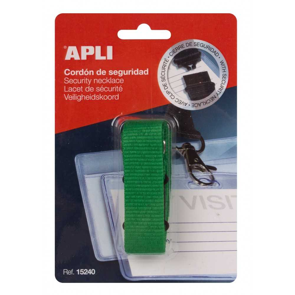 1 Cordón de Seguridad Verde para Identificadores Apli 15240