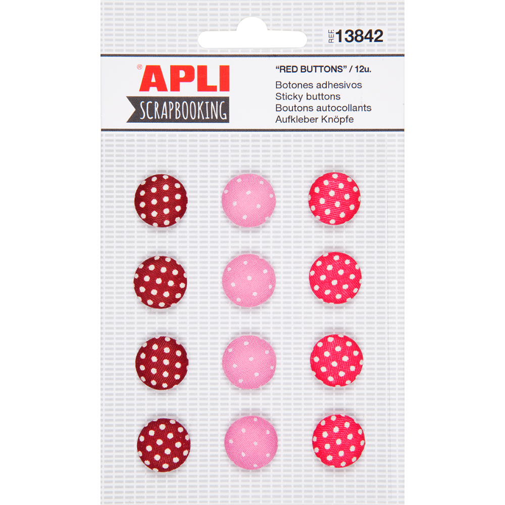 Botones de Tela Adhesivos Tonos Rojos Apli 13842