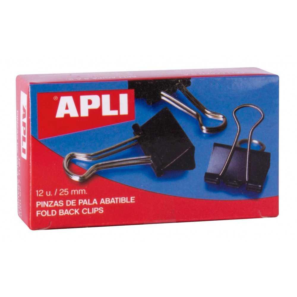 Caja 12 Pinzas Sujetapapeles Abatibles 25 mm Apli 11949