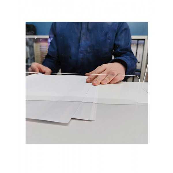 Mampara de metacrilato para protección anticontagio 70x65 cm. ranura grande vista 2-COVID-19