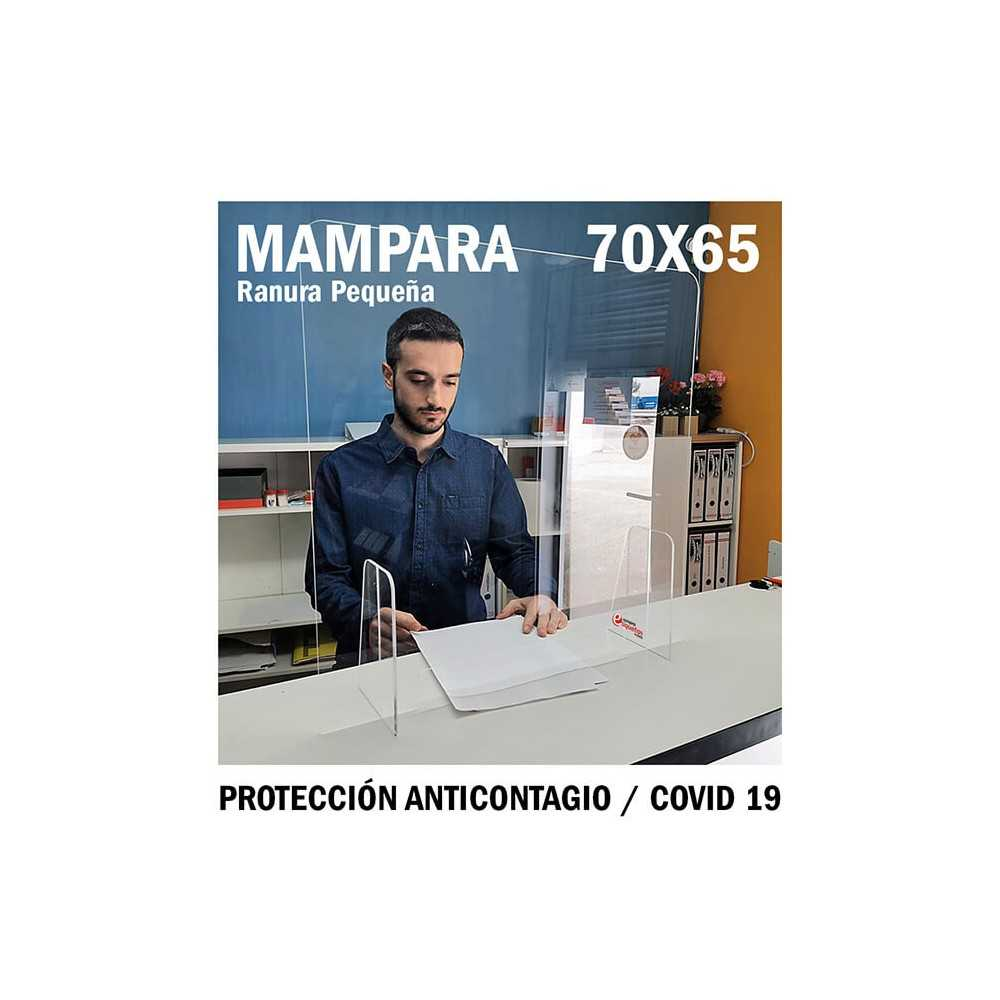 Mampara de metacrilato para protección anticontagio 70x65 cm. COVID-19