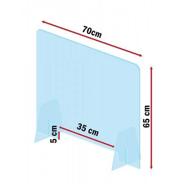 Mampara de metacrilato para protección anticontagio 70x65 cm. vista 3- COVID-19