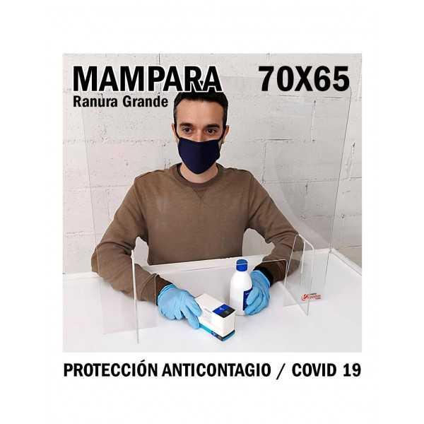 Mampara de metacrilato para protección anticontagio 70x65 cm. ranura grande COVID-19