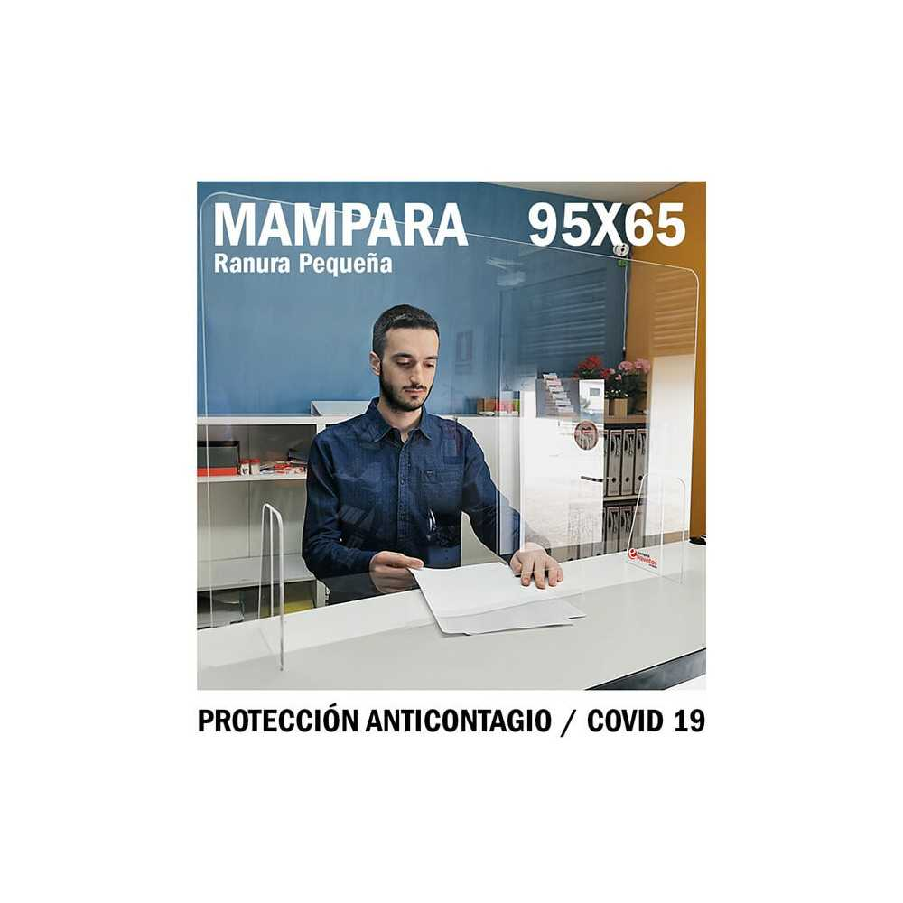 Mampara de metacrilato para protección anticontagio 95x65 cm. COVID-19