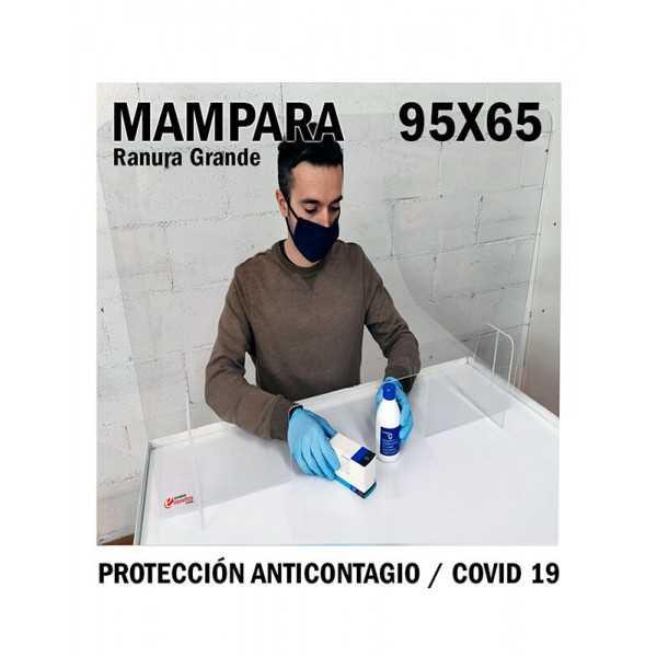 Mampara de metacrilato protección anticontagio 95x65 cm. ranura grande COVID-19