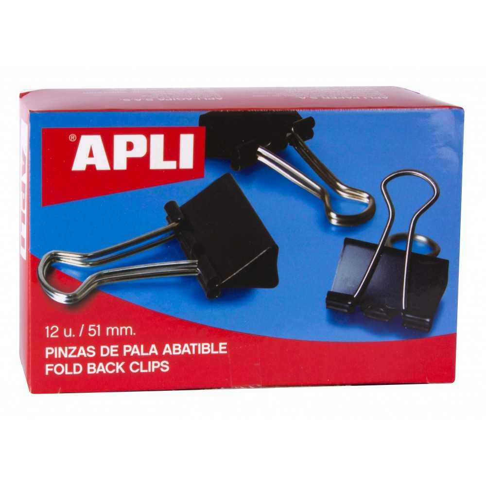 Caja 12 Pinzas Sujetapapeles Abatibles 51 mm Apli 11952