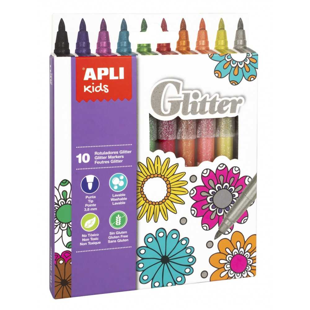 10 Rotuladores Glitter Colores Surtidos Apli 18218
