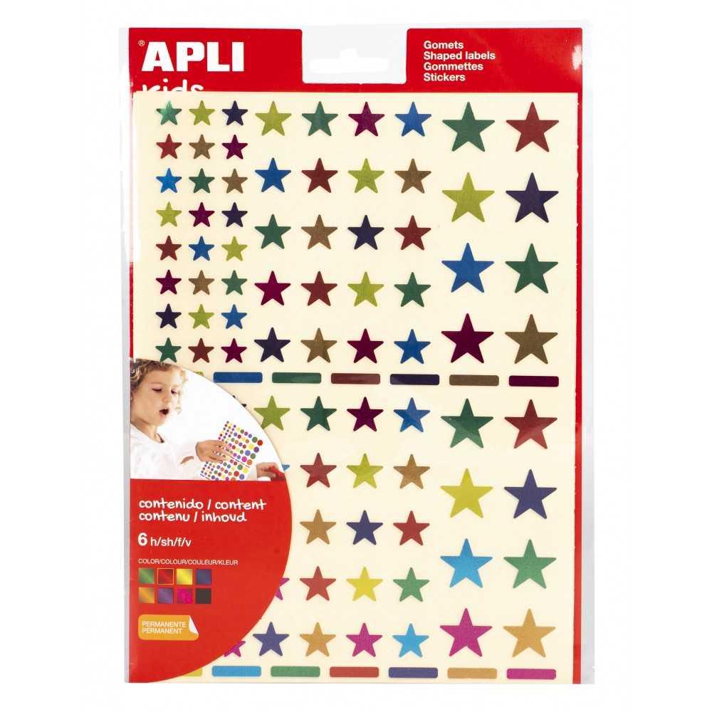 6h Gomets Permanentes Estrellas Multicolor Metalizadas Apli 18396