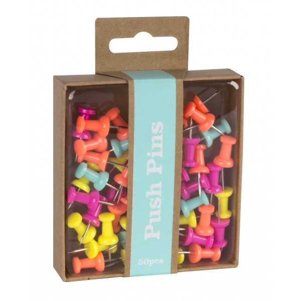 50 Push Pins Colores Fluor Apli 15146