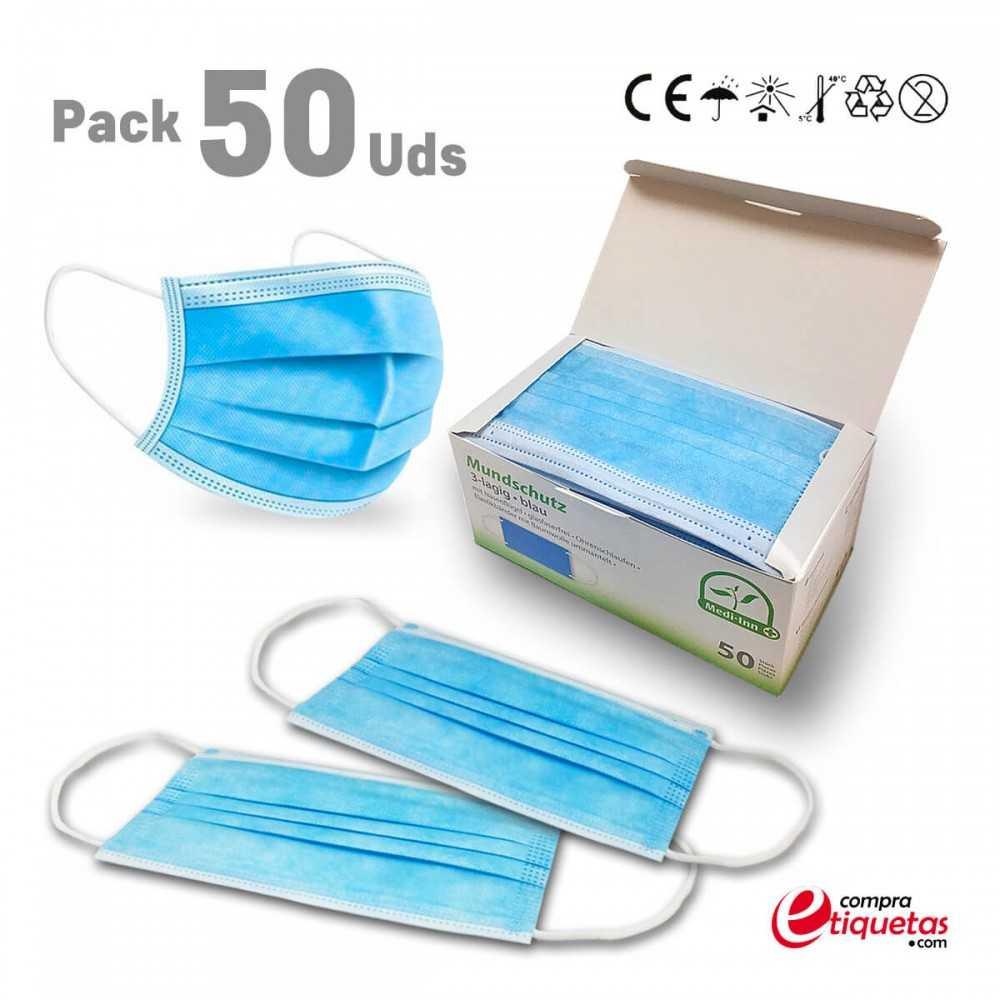 Mascarillas quirúrgicas con tres capas de protección y puente nasal.