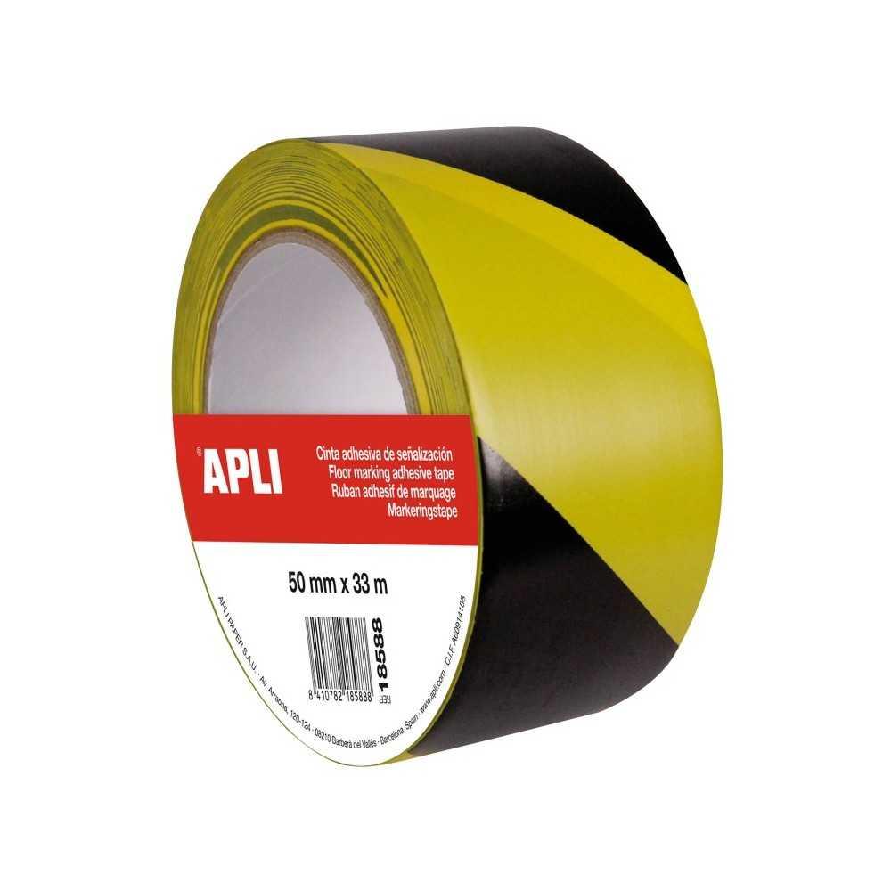 Cinta Señalización Amarillo/Negro PVC 50 mm x 33 m Apli 18588