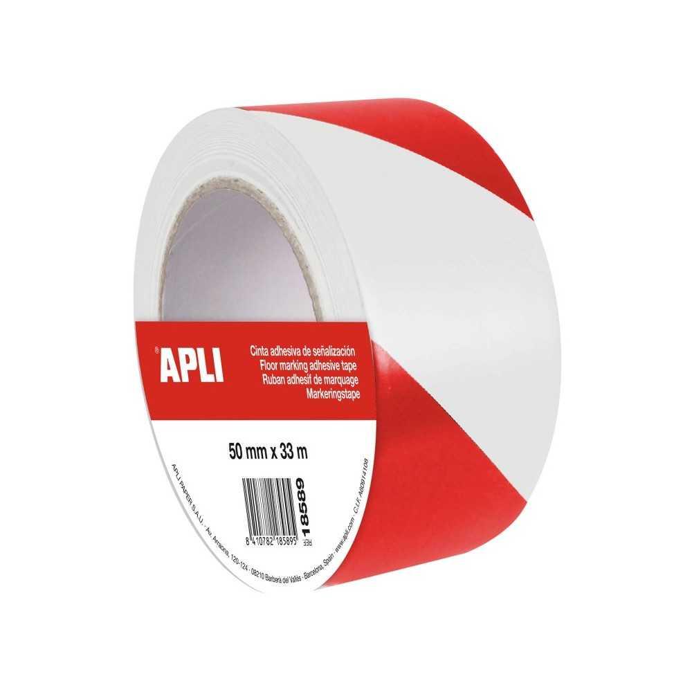 Cinta Señalización Rojo/Blanco PVC 50 mm x 33 m Apli 18589