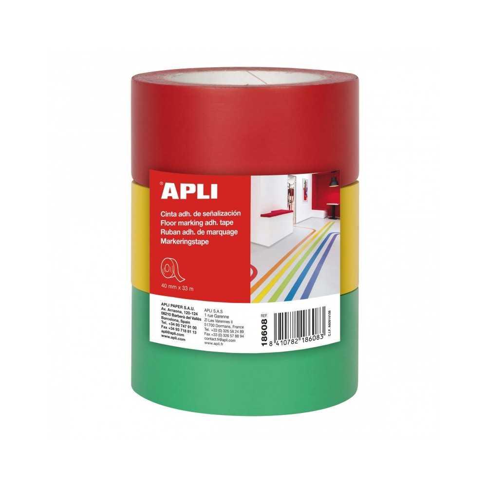 Cintas Adhesivas Señalización PVC Rojo/Amarillo/Verde APli 18608