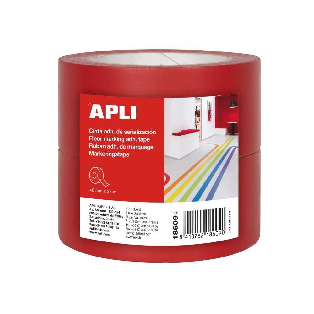 Cinta Señalización PVC Rojo 40 mm x 33 m Apli 18609