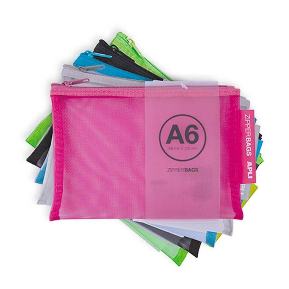 5 Bolsas Zipper Bag de Nylon A6 Colores Surtidos Apli 18024