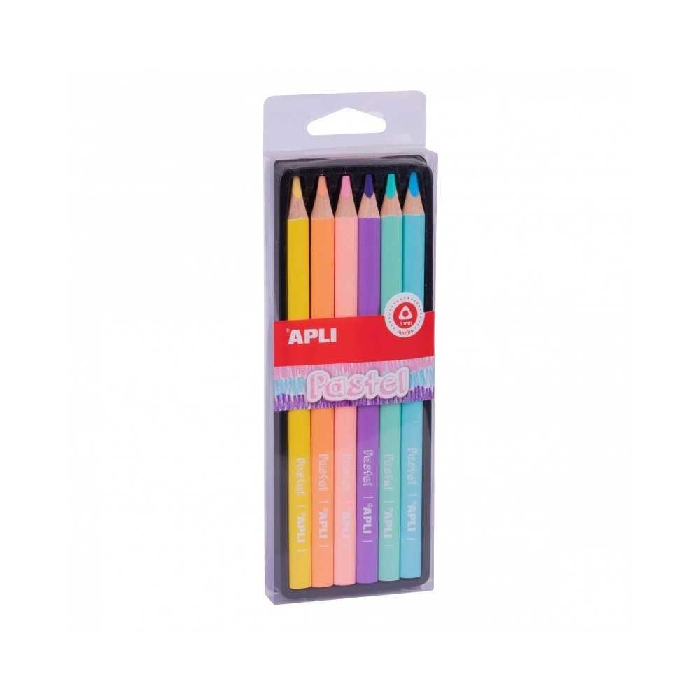 6 Lápices Jumbo Colores Pastel Surtidos Apli 18059 COMPRAETIQUETAS