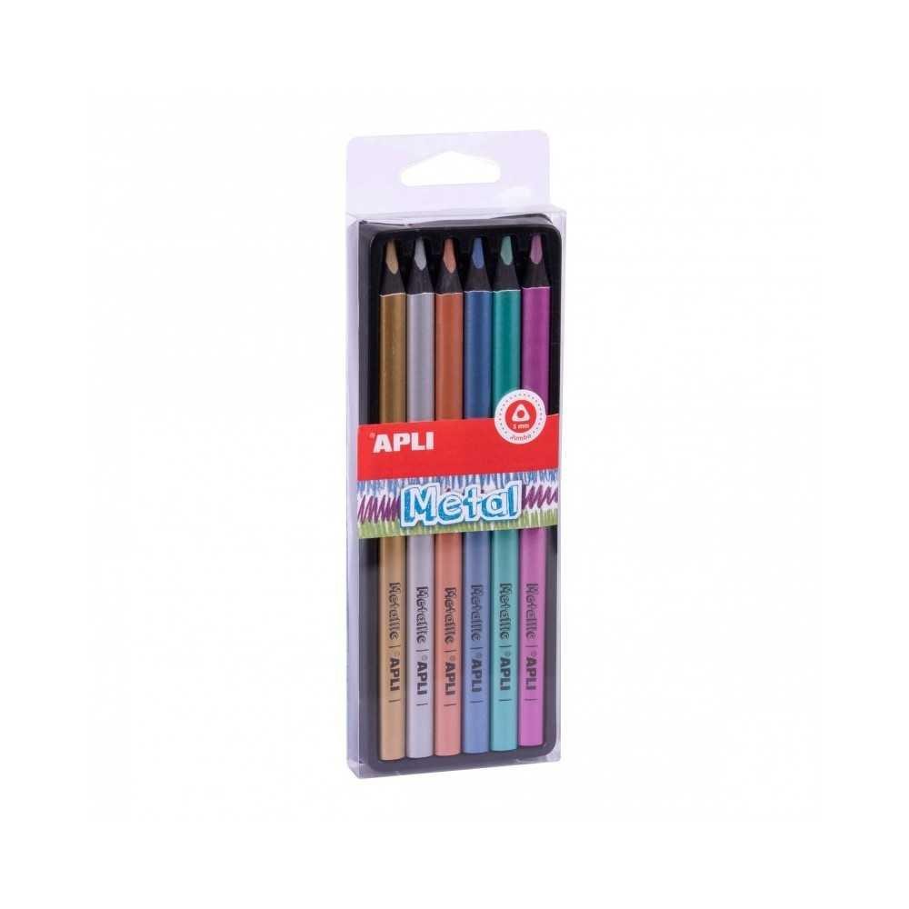 6 lápices Jumbo metal colores surtidos. Apli. 18061