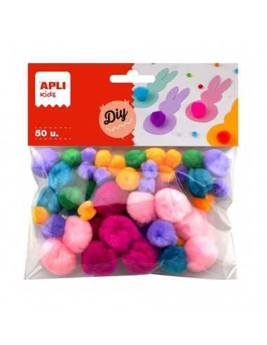 Pompones Colores Surtidos Tacto Suave 50u. Compraetiquetas