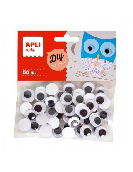 Ojos Móviles Negros Redondos Adhesivos 50u.