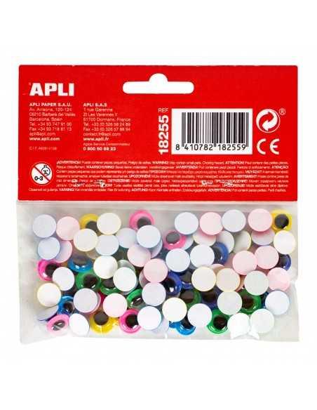 Ojos móviles redondos adhesivos colores surtidos 100u.