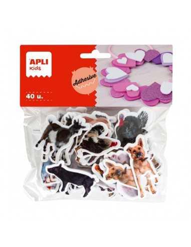 Goma Eva Forma Animales Granja Adhesivos 40u.