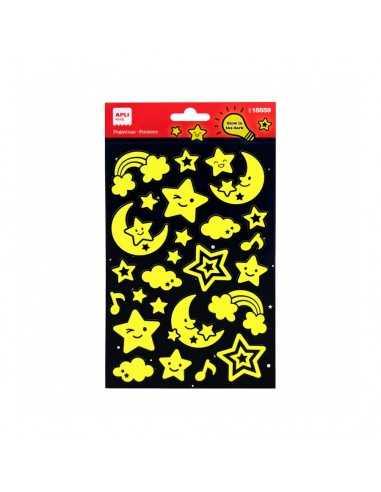 Bolsa Pegatinas Luna Estrellas Luminiscentes 1H Apli 18559