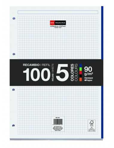 Recambio 100 Hojas Sueltas 5x5 5 Colores