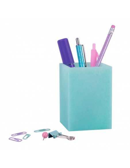 Cubilete Silicona Portalápices Azul Turquesa Glitter Collection Compraetiquetas 2