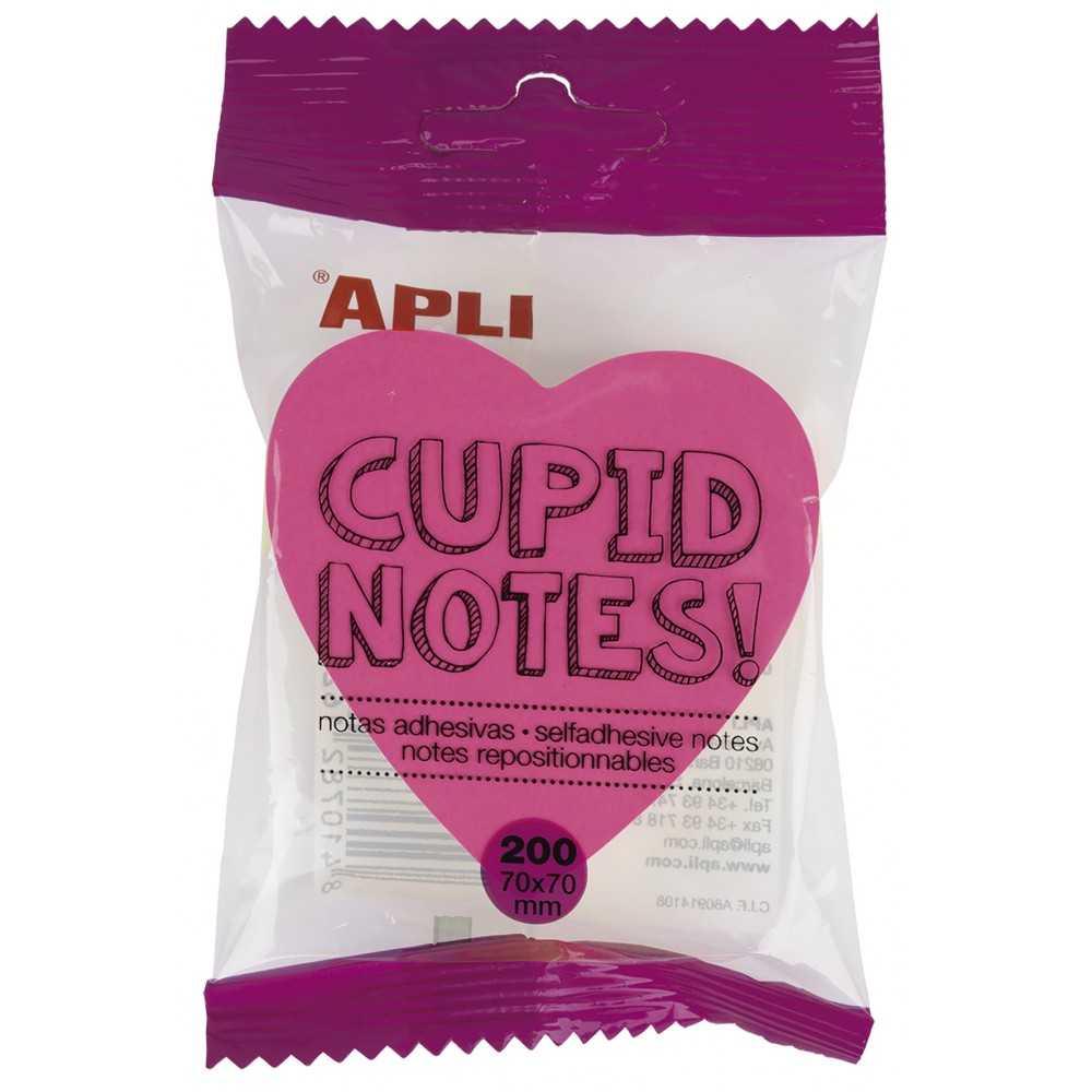 Cubo 200 hojas Taco Notas Adhesivas forma Corazón 70x70mm Apli 16277 compraetiquetas.com